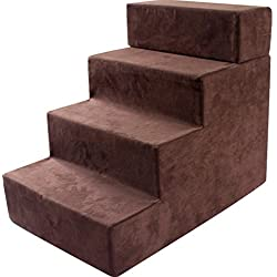 Qz Pet Stairs For High Bed 5 Step, Medium Dogs Pet Cat Step Stool For Bed Sofa, Sponge Suede, 604050cm