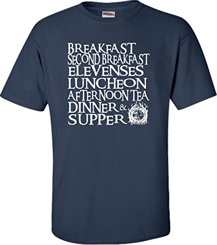 Go All Out Large Navy Blue Adult The Seven Daily Hobbit Meals T-Shirt (Lord Of The Rings Tcg Card List)
