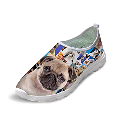 Showudesigns Dog Printing Mesh Slip On Shoes for Women Running Sneaker Footwear Animal 3 kNxmNujGHz