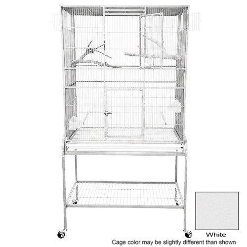 KING'S CAGES Superior Line Extra Large Flight Cage SLFXL 3221 PARROT CAGE 32x21x62 bird toy canary finch parakeet sugar glider (WHITE)