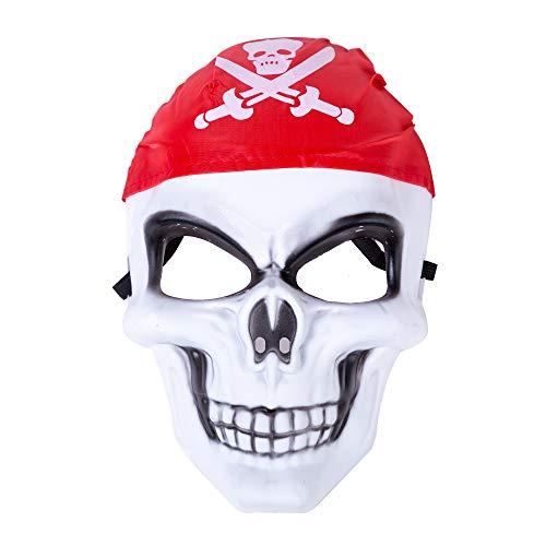 Halloween Costume Spooky Pirate Skull Mask Cross Bone Eye Holes White Skeleton -