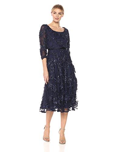 Alex Evenings Women's Tea Length Soutache Dress With Satin Belt (Petite and Regular Sizes), Navy, 14
