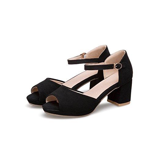 Mei&S Bloque de Mujer Tacones Peep Toe Sandalias Black