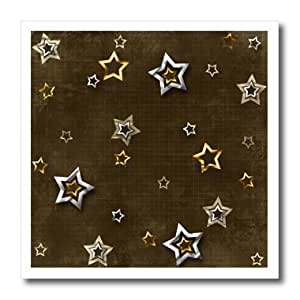 ht_167350_3 Beverly Turner Christmas Design - Silver and Gold Color Stars on Brown - Iron on Heat Transfers - 10x10 Iron on Heat Transfer for White Material