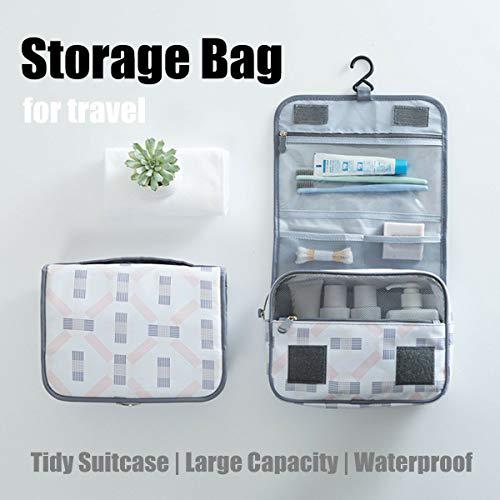 (Travel Toiletry Storage Bag Hanging Wash Makeup Cosmetic Case Folding Organizer)