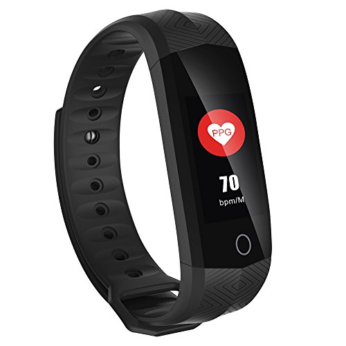 Bling Bling Waterproof IP67 Smart Watch Activity Tracker with Pedometer PPG Heart Rate and Blood Pressure Monitor for iOS Android Phone- Black by Bling Bling