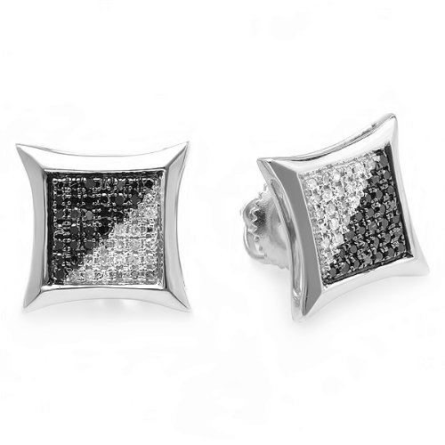 0.25 Carat (ctw) 10K White Gold Black & White Round Diamond Micro Pave Setting Kite Shape Stud Earrings 1/4 CT by DazzlingRock Collection