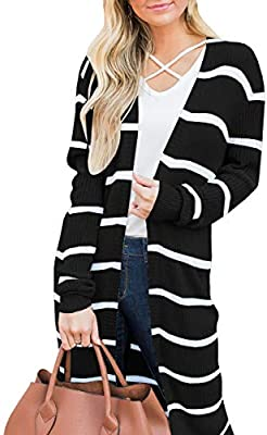Love By Chesley Black /& Gray Striped Long Sleeve Knit Sweater; Many Sizes!!