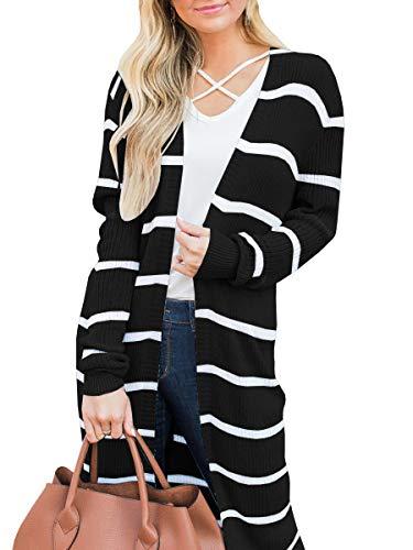 Lovaru Womens Long Cardigans Striped Fall Oversized Lightweight Open Front Sweater Tops (Small, Black)