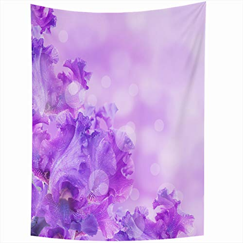 - Ahawoso Tapestry Wall Hanging 50x60 Inches Plant Purple Blue Irises Against Green Grass Summer Pollen Iris Nature Yellow Blossom Botany Bouquet Home Decor Tapestries Art for Living Room Bedroom Dorm