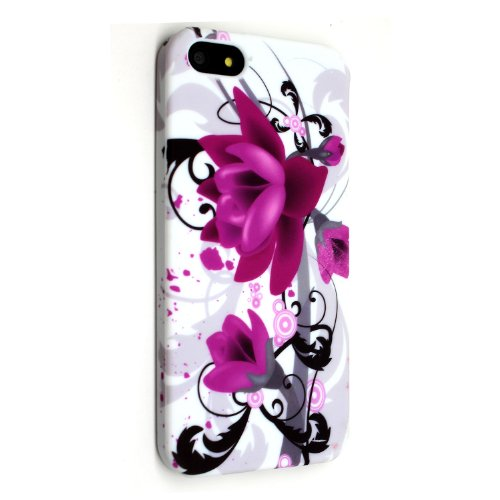 Styleyourmobile {TM} Apple iPhone 5 lila Blooming Flower Silikon Gel Schutz Case Cover + Gratis STYLUS