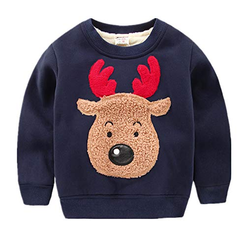 (Kids Boys Crewneck Sweatshirt Toddler Long Sleeve Christmas Shirts Reindeer Fleece Pullover (Deer, 2-3)