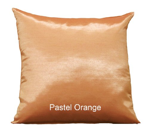 Shopping The Globe 1 Pastel Thai Silk Look 16''x16'' Pillow Cover, (Pillow Not Included) - Pastel Orange by Shopping The Globe
