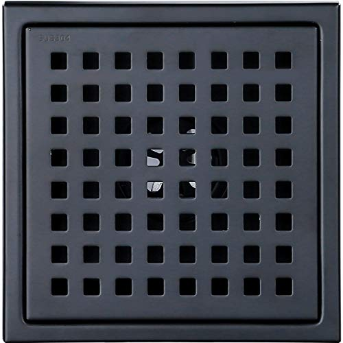 (6-inch Shower Drain, Square Floor Drain with Tile Insert Grate Removable, Multipurpose, Invisible Look or Flat Cover, SUS304 Stainless Steel, Black)
