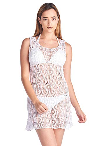 SHORE TRENDZ Women's Spider Tank Swimwear Cover-up Beach Dress.White.ONE Size ()