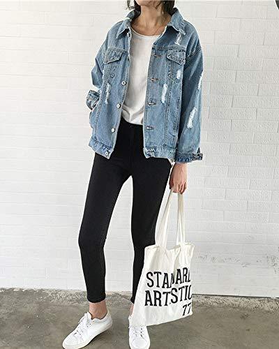 Azzurro Denim Manica Cappotti Outerwear Lunga Donna Giubbino Jeans Zongsena Oversized Giacca Strappato Chiaro apdPnw