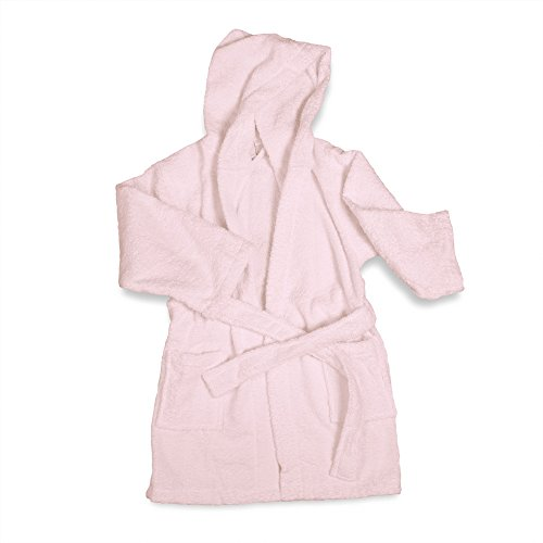 Price comparison product image ExceptionalSheets Little Girls Terry Cloth Hooded Bath Robe, SM/MD, Pink