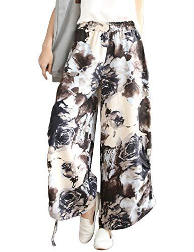 Zhhlinyuan Unisexe Harem Pantalon Lanterne Baggy en Vrac Pantalon - Coton Lin Taille Elastique t Confortable Trouser Marron
