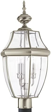 Sea Gull Lighting 8239-965 Lancaster Three-Light Outdoor Post Lanterns With Clear Curved Beveled Glass Panels, Antique Brushed Nickel Finish