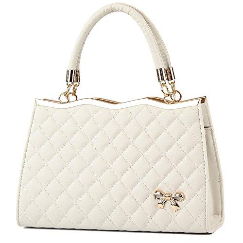 YINGPEI Women's Top Hand Handbags Beige PU Leather