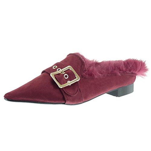 cm Block Golden Red Shoes 2 Heel Fashion Slip Fur Buckle Women's On Angkorly Mocassins 7BnAwq