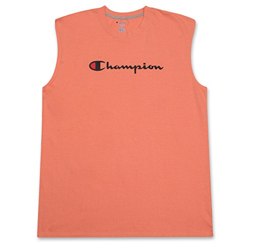 Champion Big and Tall Mens Jersey Muscle Tee with Script Logo Salmon X-Large Tall