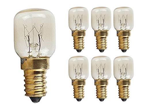 (CTKcom 15W T22 E14 Base Oven Light Bulbs(6 Pack)- T22 Microwave Light Bulbs 120V Heat Resistant Bulbs 300'C,Warm White Incandescent Light Bulb 360° Beam Angle,110-130V,6 Pcs)