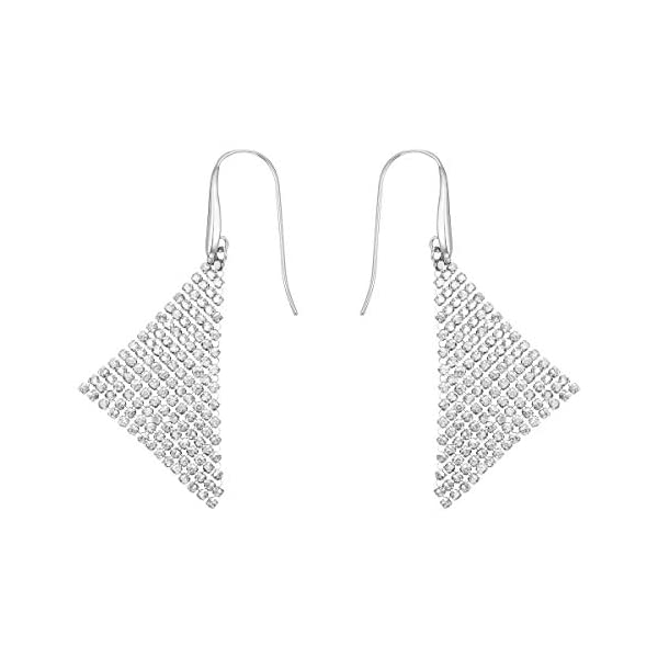 Swarovski Fit Collection Chandelier Dangle Pierced Earrings for Women, Pair of Mesh Triangle White Crystal Earrings with a Rhodium Plated Setting