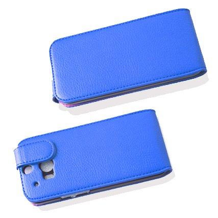 Cadorabo - Funda Flip Style para HTC ONE M8 de Cuero Sintético - Etui Case Cover Carcasa Caja Protección en AZUL-REAL AZUL-REAL