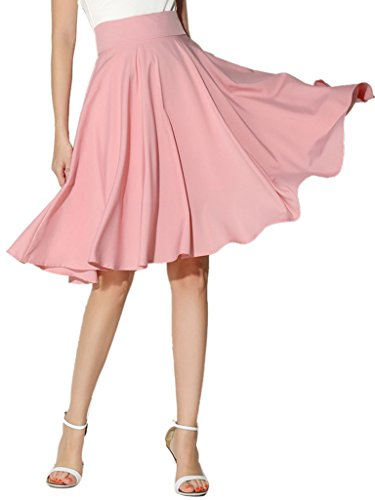(Choies Women's High Waist Midi Skater Skirt M, Pink-1)
