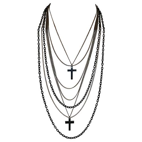 Multilayer Black and Gunmetal Chains and Crosses 80's Gothic Retro Long Fashion Necklace]()