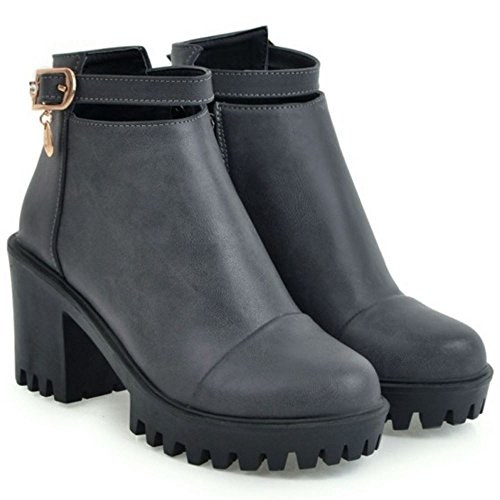Women's Fashion Boots Zipper With Gray TAOFFEN 6x0aq4dw6