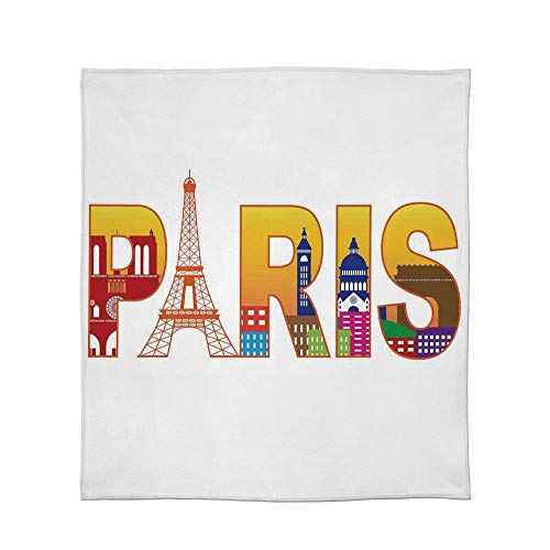 (C COABALLA Lightweight Blanket,Paris,for Bed Couch Chair Fall Winter Spring Living Room,Size Throw/Twin/Queen/King,Paris France Skyline with Cultural Icons Historical)