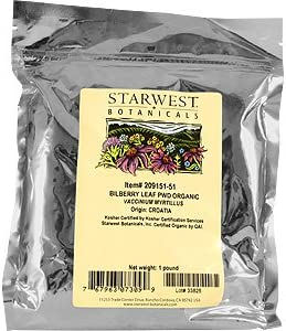 Bilberry Leaf Powder Organic - Vaccinium myrtillus, 1 lb,