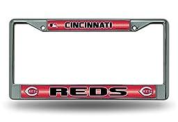MLB Cincinnati Reds Bling License Plate Frame, Chrome, 12 x 6-Inch