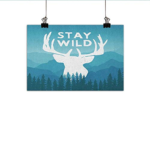 Adventure Simulation Oil Painting Wilderness Themed Stay Wild Quote with Scenic Mountain Backdrop Forest Decorative Painted Sofa Background Wall 35