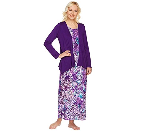 Carole Hochman Abstract Hydrangea Maxi Dress Set A273581, Purple, 2X (Cardigan Carole Hochman)