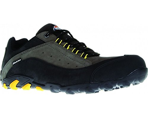 Dickies Faxon Safety Trainer, Composite Midsole and Toe, Leather Upper Grey/Black