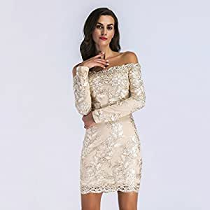 Lady's Dress Womens Dress Wrapped chest Long sleeve Lace embroidery 2018 New Short dress fashion show business canonicals Temperament ( Size : S )