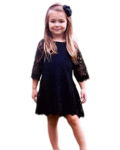 Tkiames Girls Lace Flower Dresses Casual Crew Neck Floral A-Line Party Dress Black -