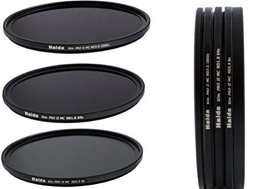 Slim PRO II Digital MC Neutral Graufilter Set bestehend aus ND8, ND64, ND1000 Filtern 77mm inkl. Stack Cap Filtercontainer + Pro Lens Cap mit Innengriff