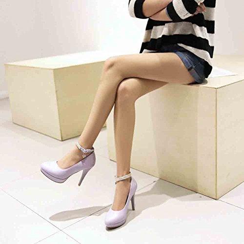 Easemax Womens Gracieuse Bout Rond Coupe Basse Boucle Cheville Sangle Plate-forme Haute Talon Aiguilles Pompes Chaussures Violet