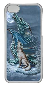 iPhone 5C Case,Dragon Wolf Moon Custom PC Hard Case Cover for iPhone 5C Transparent