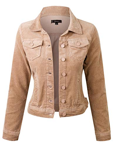 (makeitmint Women's Casual Long Sleeve Button Down Collar Corduroy Jacket YJZ0077-SAND-MED)