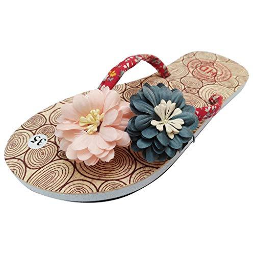 YEZIJIN Hot Sale! Summer Women's Non-Slip Flower Flip Flops Sandals Flat Beach Slippers Shoes Slipper Heels Platform Flats Shoes for Women Ladies Girl Indoor Outdoor Clearance 2019 Best