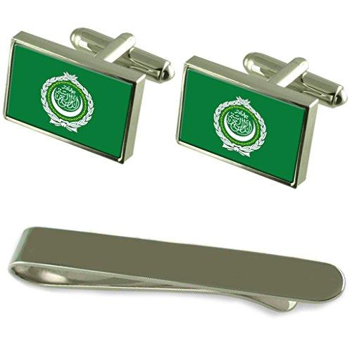 Drapeau de la Ligue arabe de manchette d'argent un Ensemble cadeau Cravate