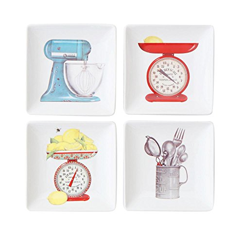 Small Square Stoneware Appetizer Dish Plates - Kitchen Supplies | 4