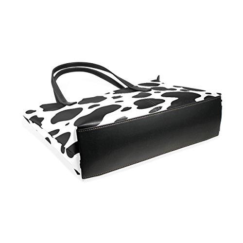 Della Modello Tote Cuoio Muticolour Le Borse Donne Nero Bag Tracolla Borsa A Mucca Coosun Bianco Medio Per Del E wRFFXI
