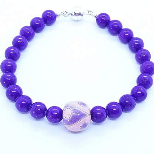 Purple Jade Drop - Purple Mountain Jade with Pink/Purple Teardrop Ceramic Focal Bead