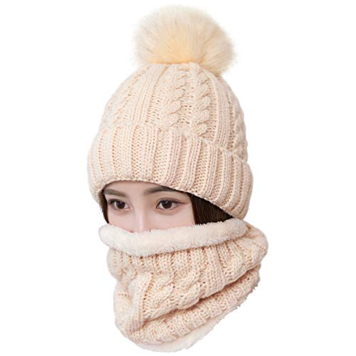 (LCZTN Womens Pom Beanie Hat Scarf Set Girls Cute Winter Ski Hat Slouchy Knit Skull Cap with Fleece)